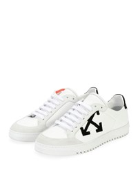 Off White Carryover Leather Suede Lace Up Low Top Sneakers White Black