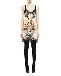 Givenchy Sleeveless Lace Trim Printed Slip Dress Multi Colors Women's