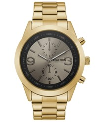 Kenneth Cole Reaction Men's Gold Tone Stainless Steel Bracelet Watch 47Mm Gld