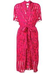 Lala Berlin Floral Wrap Midi Dress Pink