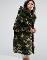 Pull And Bear Pullandbear Faux Fur Camo Hooded Jacket Khaki Green