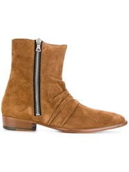 Amiri Side Zip Boots Leather Suede Brown