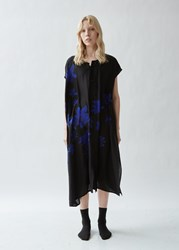 Yohji Yamamoto Silk Button Front Asymmetrical Dress Black