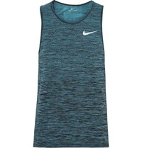 Nike Running Mesh Panelled Space Dyed Dri Fit Tank Top Turquoise