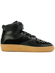 Red Valentino Studded Hi Top Sneakers Leather Suede Nylon Rubber Black