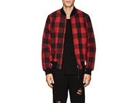 Nsf Checked Cotton Flannel Bomber Jacket Red