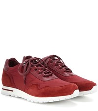 Loro Piana My Wind Suede And Fabric Sneakers Red