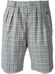 Msgm Checked Shorts Black