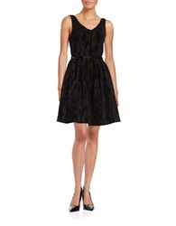 Calvin Klein Textured Velvet Fit And Flare Dress Black