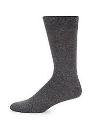 Saks Fifth Avenue Cotton Blend Square Dots Socks Grey