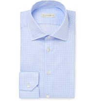 Etro Light Blue Slim Fit Cutaway Collar Checked Cotton Shirt