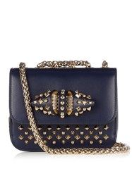 Christian Louboutin Sweety Charity Leather Shoulder Bag Navy Gold