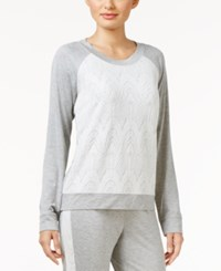 Alfani Lacy Jacquard Front Pajama Top Only At Macy's Heather Grey