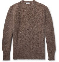 Inis Meain Aran Cable Knit Melange Merino Wool And Cashmere Blend Sweater Brown