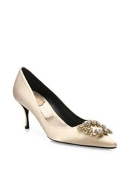 Roger Vivier Flower Strass Buckle Satin Point Toe Pumps Nude
