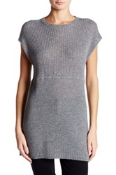 Cullen Short Sleeve Mixed Knit Cashmere Tunic Gray