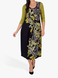 Chesca Floral Draped Dress Black Lime