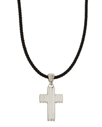 John Hardy Sterling Silver And Leather Cross Pendant Necklace Men's