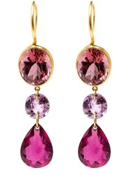 Marie Helene De Taillac 22Kt Yellow Gold Drop Tourmaline Earrings Pink And Purple