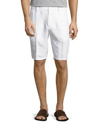 Neiman Marcus Solid Linen Shorts White