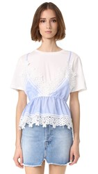 English Factory Lace Detail Cami Shirt Combo Top White Blue