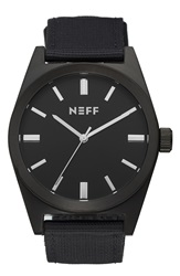 Neff 'Nightly' Round Watch 42Mm Black Black