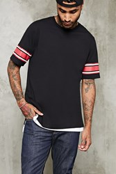 Forever 21 Striped Sleeve Tee Black Red