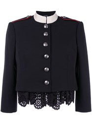 Alexander Mcqueen Military Lace Insert Jacket Black