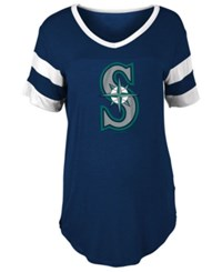 5Th And Ocean Women's Seattle Mariners Sleeve Stripe Relax T Shirt Navy White