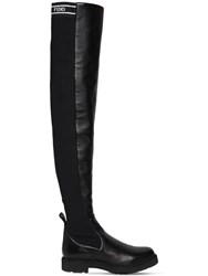 Fendi 30Mm Leather And Knit Over The Knee Boots Black