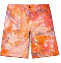 Aries Tie Dyed Denim Shorts Orange