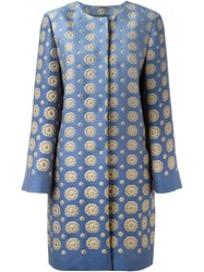 Alberta Ferretti Brocade Coat Blue