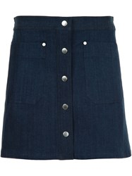 Rag And Bone Patch Pocket Denim Skirt Blue