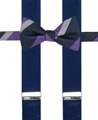 Alfani Men's Mars Stripe Bow Tie And Suspender Set Only At Macy's Purple