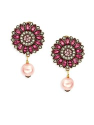 Heidi Daus Happy Flower Multicolored Crystal And Beaded Drop Earrings Gold