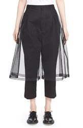 Women's Noir Kei Ninomiya Crop Pants With Tulle Gaucho Overlay Black