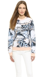 Opening Ceremony Painted Leaves Oc Sweatshirt Blush Pink Multi