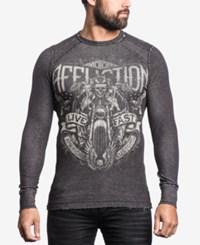 Affliction Men's Graphic Print Thermal Shirt Black White