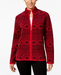 Karen Scott Petite Printed Fleece Jacket Only At Macy's New Red Amore