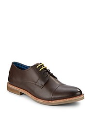 Ben Sherman Leon Perforated Leather Oxfords Brown