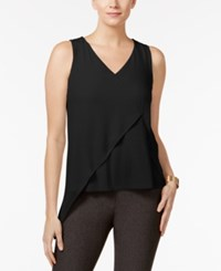 Cable And Gauge Mixed Media Asymmetrical Top Black