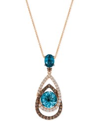 Le Vian Chocolatier London Blue Topaz 5 1 2 Ct. T.W. And Diamond 1 1 10 Ct. T.W. Interlocking Teardrop Pendant Necklace In 14K Rose Gold
