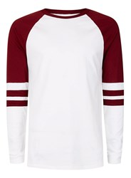 Topman Red Burgundy Panel Raglan Long Sleeve T Shirt