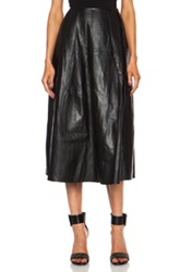 Blk Dnm Leather Skirt 26 In Black