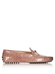 Tod's Gommini Crocodile Effect Leather Loafers Light Pink