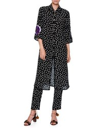 Dolce And Gabbana Long Embellished Polka Dot Tunic Blouse Black White Purple Black White