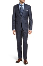 Nordstrom Big And Tall Men's Shop Trim Fit Sharkskin Wool Suit Mid Blue
