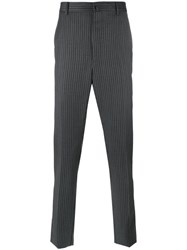Lanvin Top Stitched Striped Trousers Black