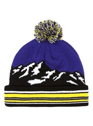 Topman Multi Blue And Yellow Mountain Landscape Bobble Beanie Hat