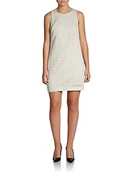 Cynthia Steffe Lasercut Faux Leather Shift Dress Tusk